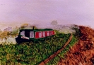Narrowboat Buccaneer on the north Coventry Canal - watercolours SOLD