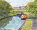 Near Brecon lock - watercolours 30cm x 25cm framed