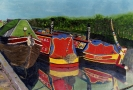 Canal boats - enamels and oils on paper 42cm x 30cm unframed