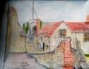 Carisbrooke Castle - watercolour / pencil 35cm x 30cm unframed