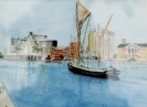 Thames barge in Ipswich dock watercolours framed SOLD