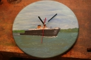 Suffolk ferry painted clock face - varnished acrylics SOLD
