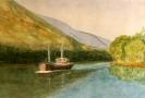 Puffer on the loch - watercolours 34cm x 24cm framed
